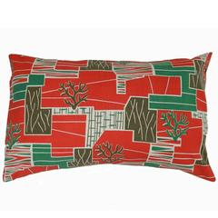Two Throw Pillows Accent Cushions French Vintage Mid-Century Fabric