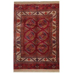 Antique Rugs Red Carpet from Turkmenistan, Hand woven Organic Wool Rug