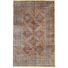 Geometric Rugs with Traditional Design, Brown Rug Antique Carpet from India
