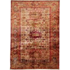 Rare Antique Rugs, Caucasian Carpet from Karabagh, Gold Rug
