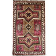 Antique Rugs, Purple Caucasian Carpet from Karabagh Geometric Wool Rug