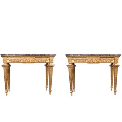 Pair of Louis XVI Giltwood Consoles with Marble Tops