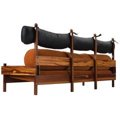 Sergio Rodrigues 'Tonico' Three-Seat Sofa in Solid Rosewood
