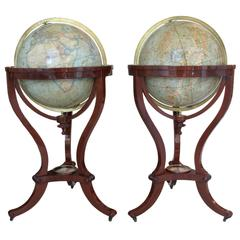 Pair of Terrestrial and Celestial Library Globes by Thomas Malby