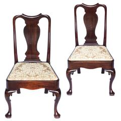 Fine Pair of English 18th Century George II Period Mahogany Chairs
