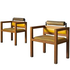 Set of Two Cubic Armchairs in Oak and Yellow Leather Upholstery