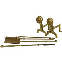 Arts and Crafts Set of Brass Fire Dogs and Matching Utensils