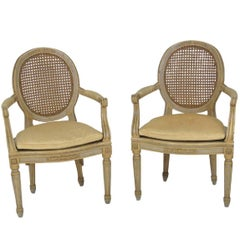 Pair of Antique Louis XVI Style Painted Cane Fauteuils Chairs