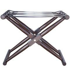 Oiled Walnut Matthiessen Folding Luggage Rack with Dark Chocolate Leather Straps