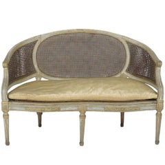 Antique Louis XVI Style Painted and Caned Sofa