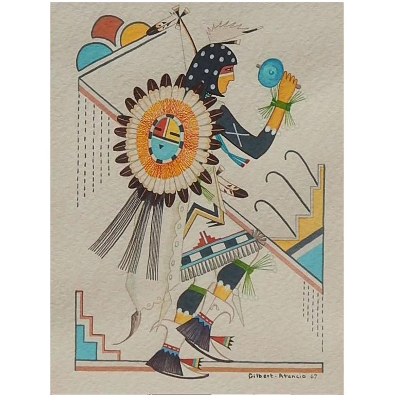 Gilbert Atencio Native American Tempera Painting, 1967