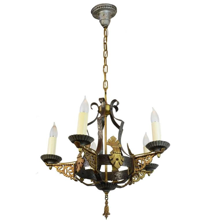 Iron and brass tudor chandelier at 1stdibs iron and brass tudor chandelier 1 aloadofball Choice Image