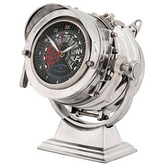 Navy Clock in Polished Aluminium Brass and Steel