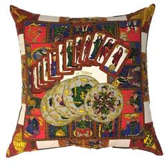 Hermès 'Le Tarot' Silk Scarf Pillow with Blue Velvet Backing