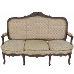 Louis XV Style French Carved Walnut Sofa