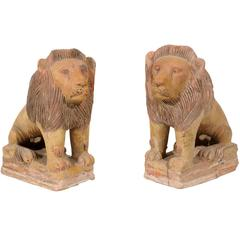 Pair of British Colonial Terracotta Lions