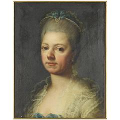 "French School 18th Century Oil on Canvas in Gilt Frame, ""Woman in Blue Dress"""