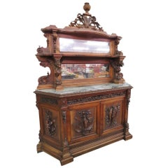 19th Century, Italian Figural Carved Marble-Top Cabinet