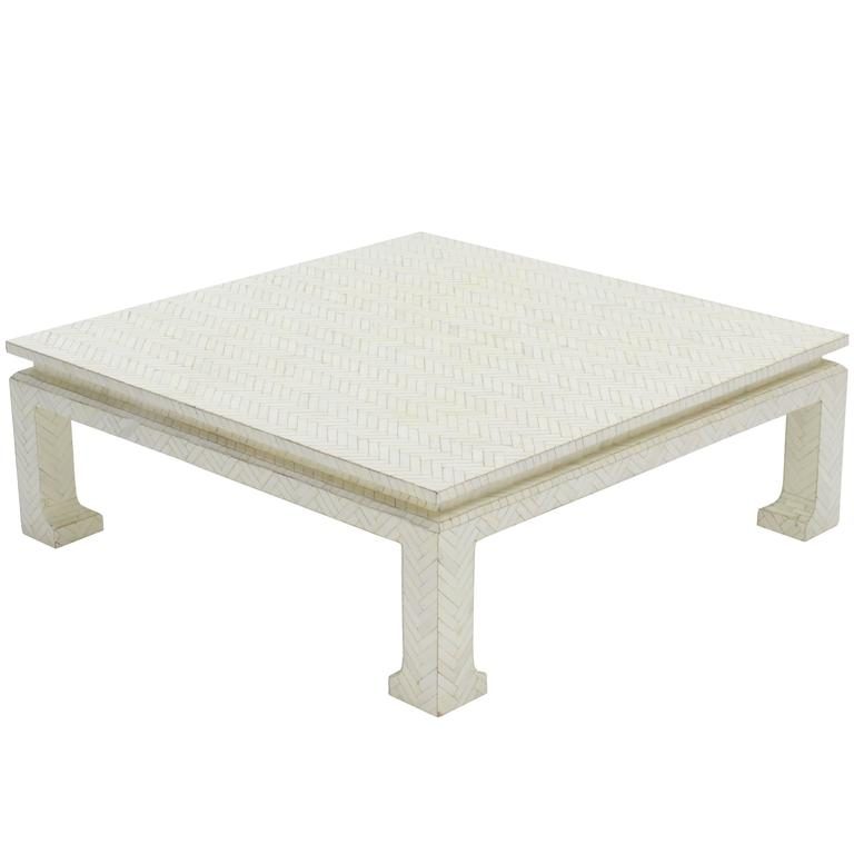 bone veneers tiles square coffee table for sale at 1stdibs. Black Bedroom Furniture Sets. Home Design Ideas