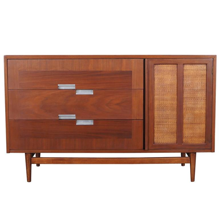 Vintage walnut and cane credenza by american of for Vintage american martinsville bedroom furniture