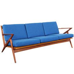 """Danish Modern Teak """"Z"""" Sofa by Poul Jensen"""