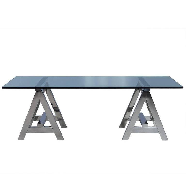 Sawhorse Glass And Stainless Steel Dining Table For Sale At 1stdibs