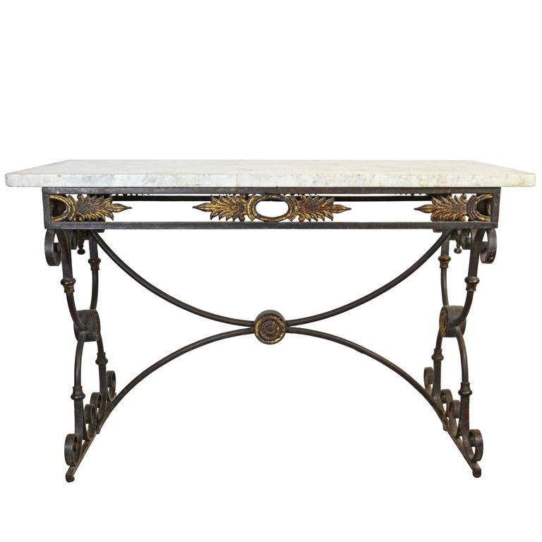 Decorative Iron And Carrara Marble Table, Circa 1920 1