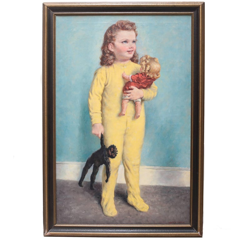 Oil Painting of Young Girl with Two Dolls by James Chapin For Sale