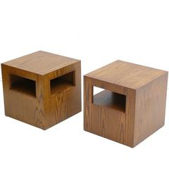 Pair of 1960s Ash Plywood Stools or Tables from an Architect's Estate