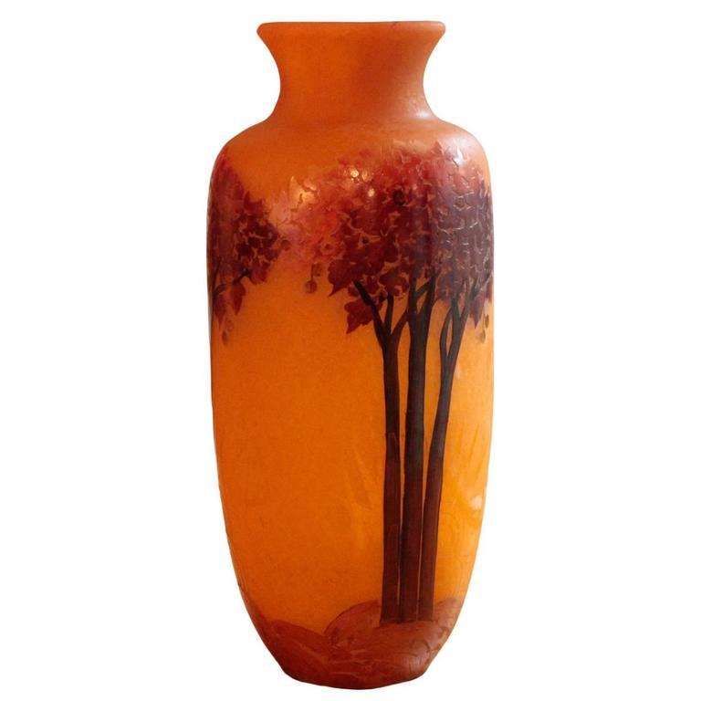 Large French Art Nouveau Period Cameo Vase by Legras & Cie