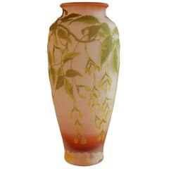 Oversized French Art Nouveau Cameo Vase by Galle