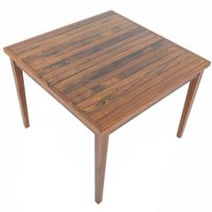 Danish Modern Slatted Square Rosewood Coffee Table