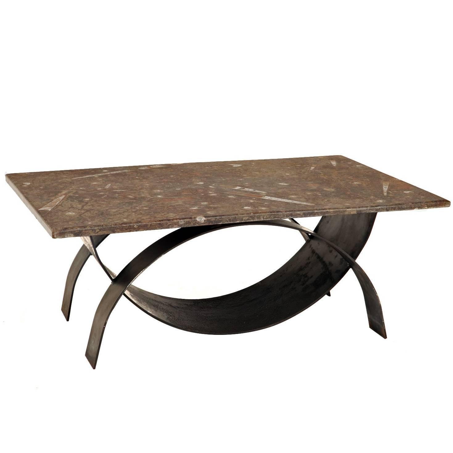 Important Brazilian Limestone Coffee Table With Fossils For At 1stdibs