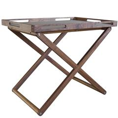 Graeme Bar Table in Oiled Walnut with Vinyl Blotter Inlay