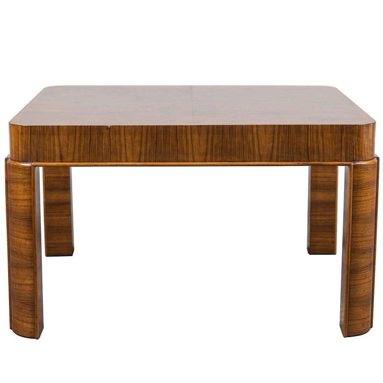 Unique Vintage German Art Deco Period Burl Walnut Square Table, circa 1930