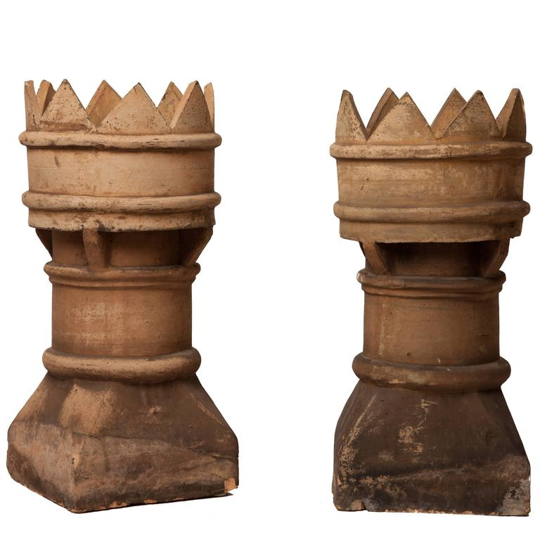 Pair of Antique English Chimney Pots For Sale