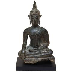 Thai Bronze Buddha on Black Stand, 19th Century, Old Collection