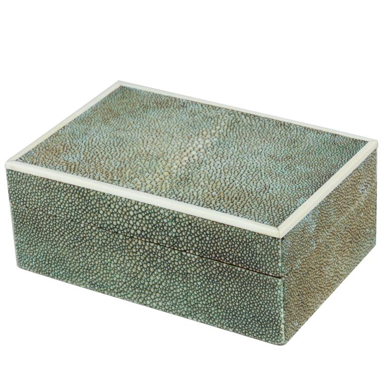 English Art Deco Blue/Green Shagreen Box