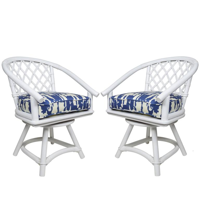 Ficks Reed Swivel Trellis Chairs Pair at 1stdibs