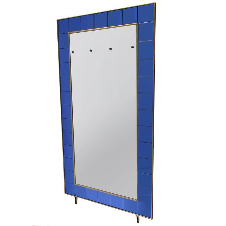 Italian Mid-Century Floor Standing Mirror For Sale