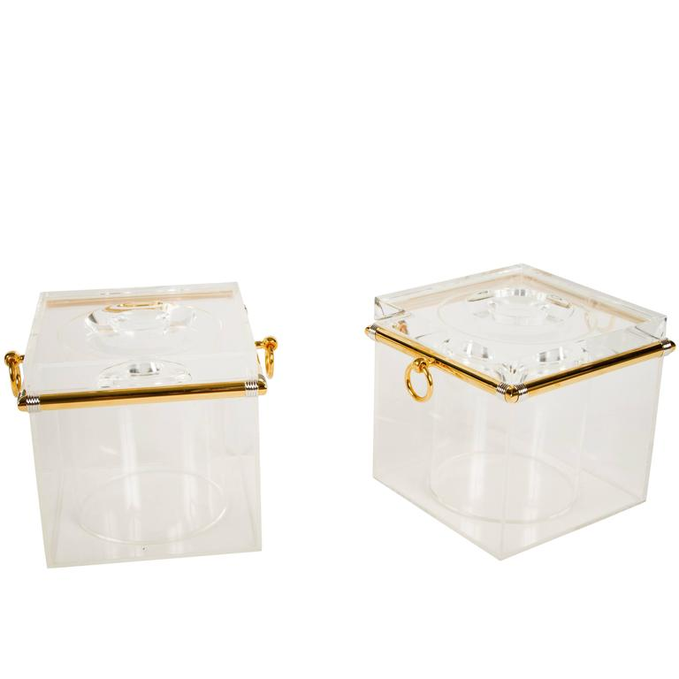 Pair of Lucite Ice Buckets with Gold Plate and Silver Trim For Sale