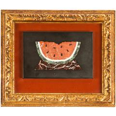 """Pietra Dura """"Painting"""" of a Watermelon"""