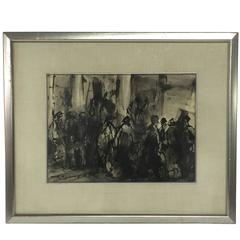 Watercolor on Paper Busy Sidewalk City Scape, Framed and Matted under Glass