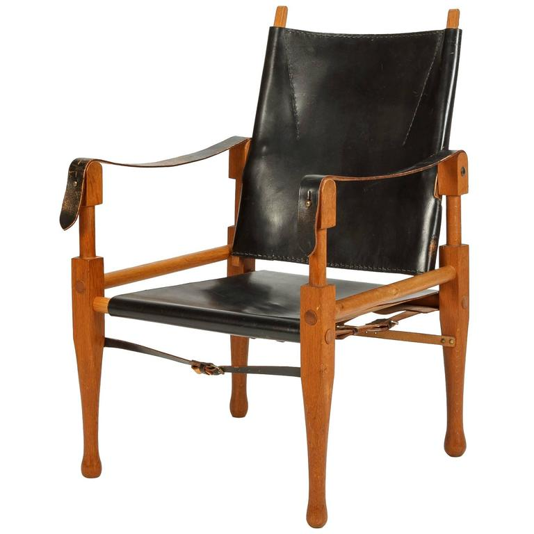 Wilhelm Kienzle Safari Chair for Wohnbedarf Leather and Oak, 1950s