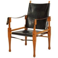 Wilhelm Kienzle Safari Chair for Wohnbedarf Leather and Oak, 1950s