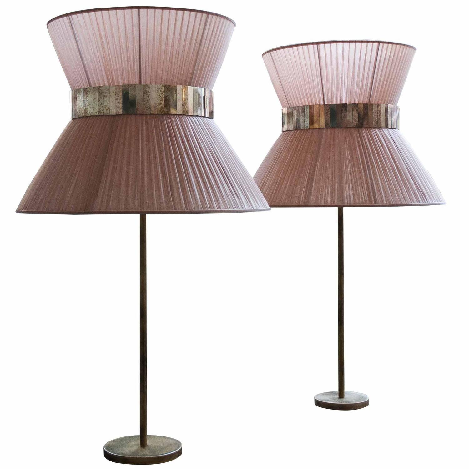 tiffany table lamp more lightings silk shade antique brass silvered. Black Bedroom Furniture Sets. Home Design Ideas