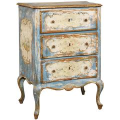 Italian Venetian 19th Century Chest with Original Blue and Off-White Paint
