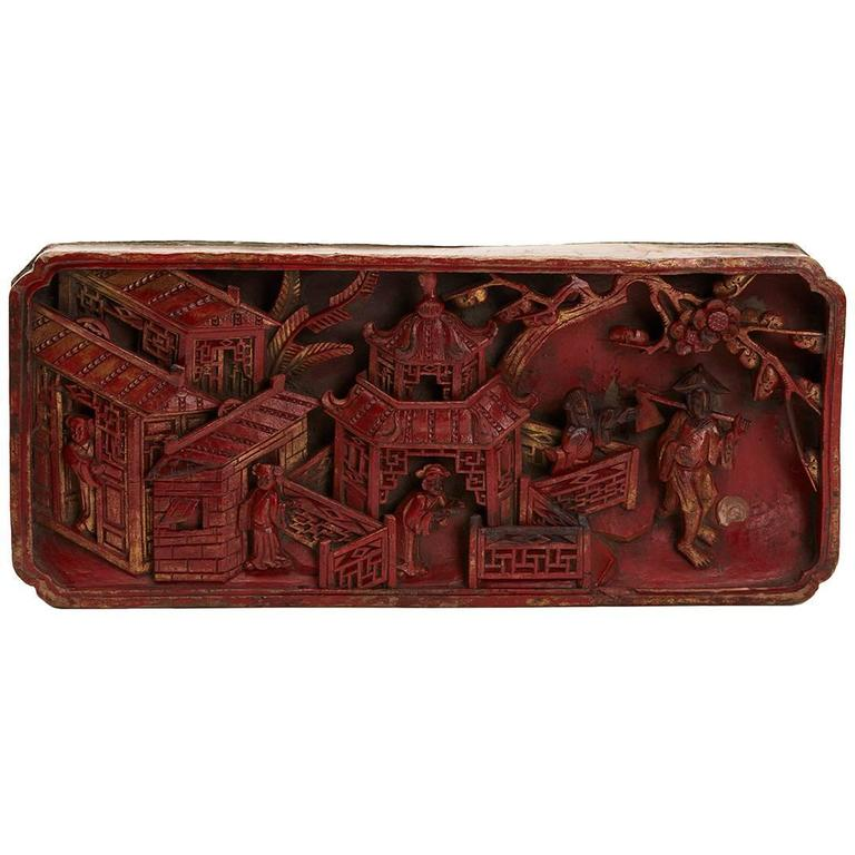 Antique Chinese Red Lacquered Wooden Panel, 18th Century