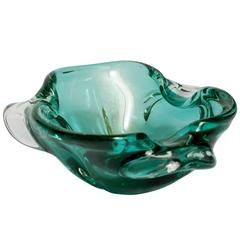Vintage Italian Murano Bowl in Emerald Green with Gold Flecks