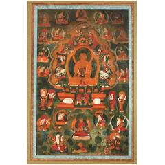 Framed Tibetan Thankga of Amitabha